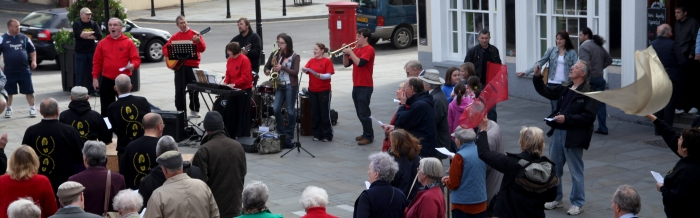 Team music group in city centre