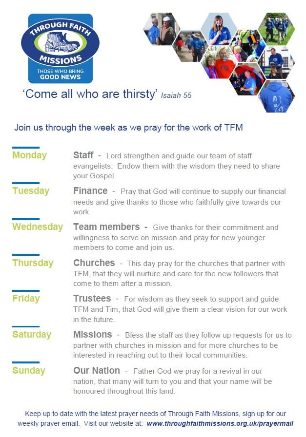 Through Faith Missions TFM: PrayerTFM : Walk of a Thousand Men